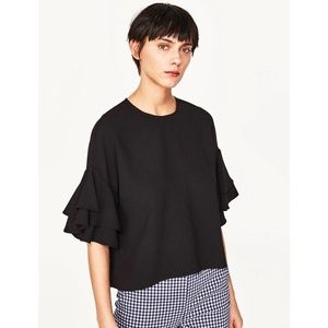 NWT | ZARA WOMAN | Black Ruffle Sleeve Top | XL